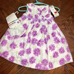 NEW Gymboree Floral Dress Purple with tights